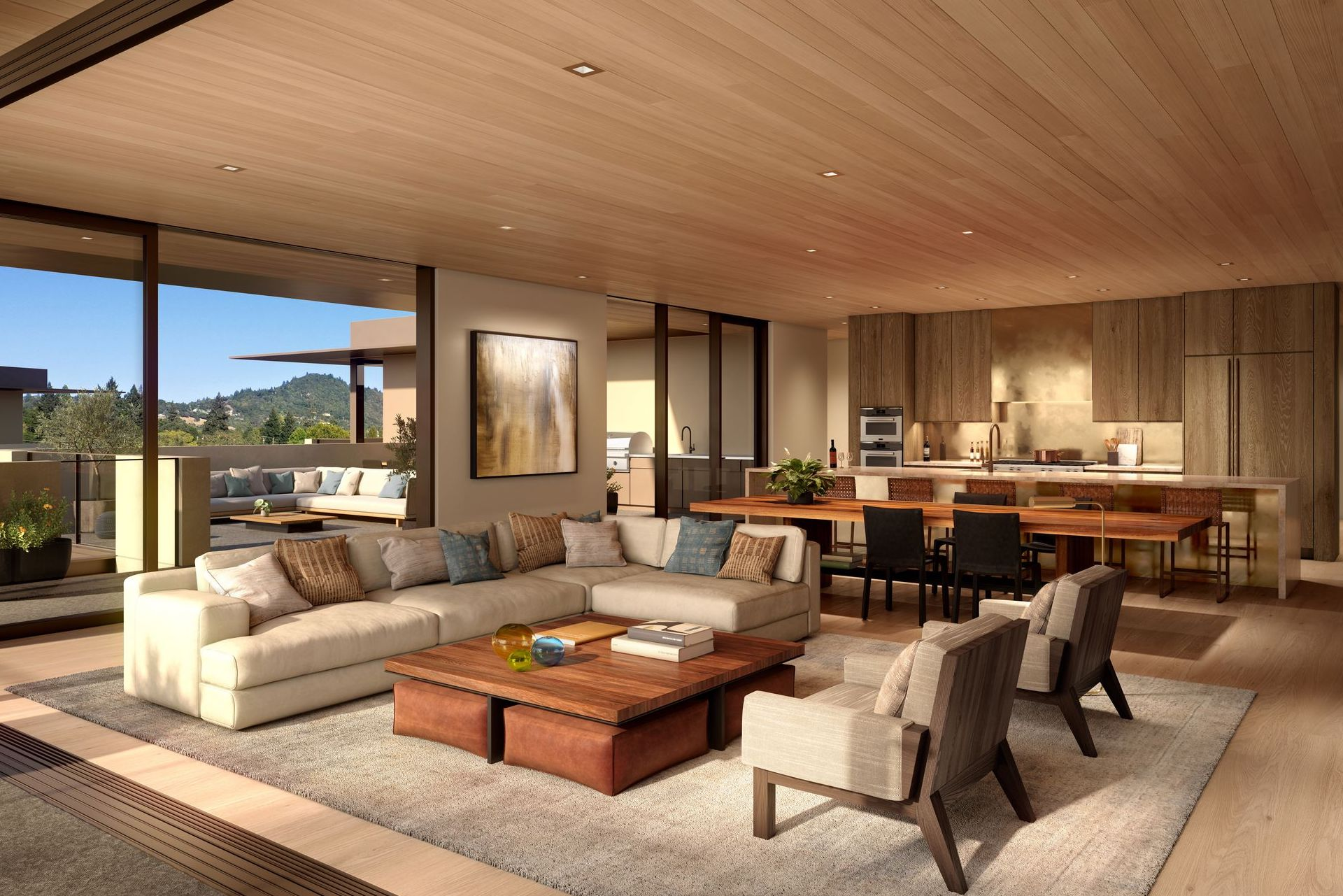 Expansive spaces are created as the indoors flow seamlessly to the outside –with views of Fitch Mountain.
