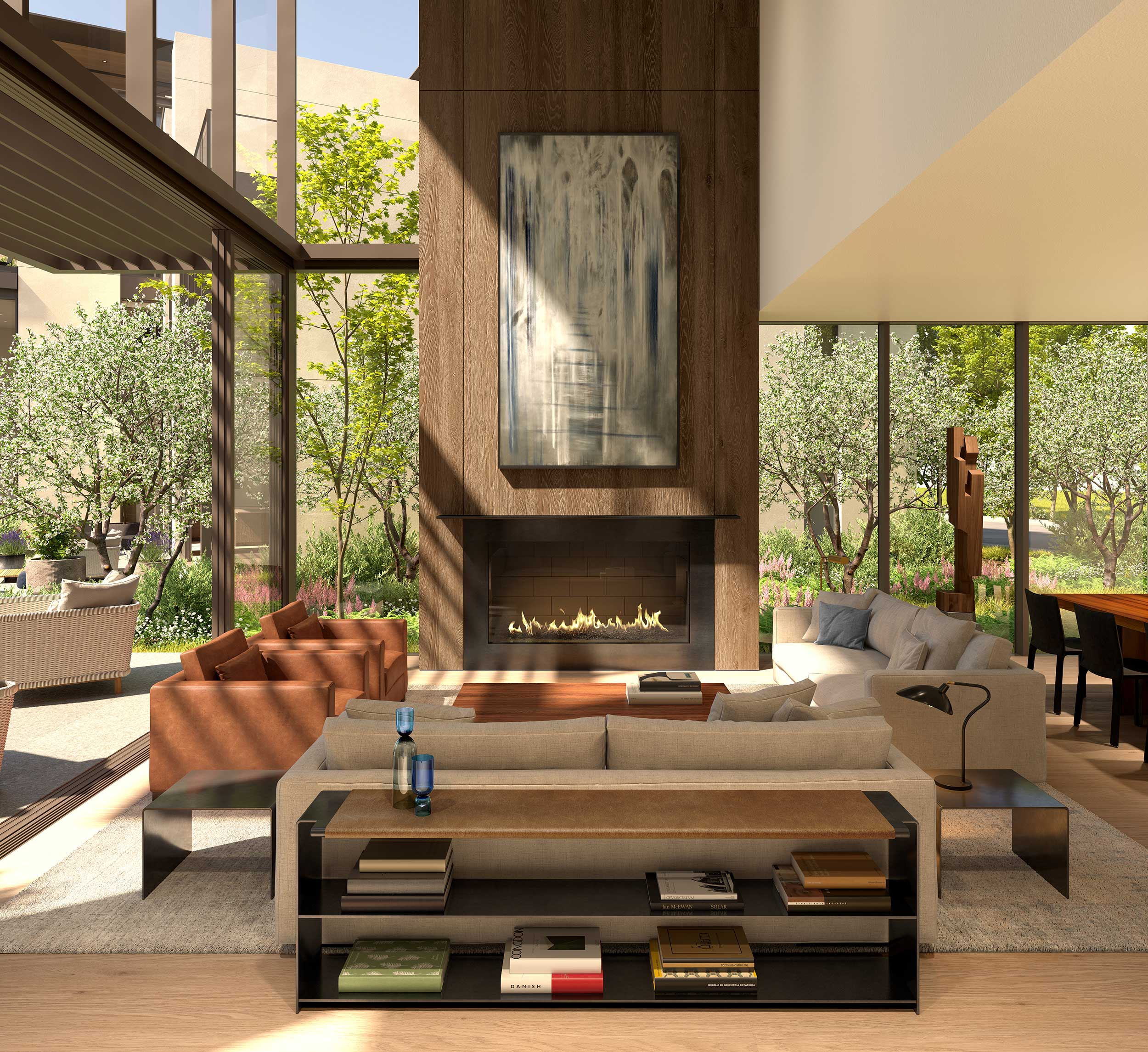 Large glass walls embrace natural light and provide a distinct connection to the outdoors.