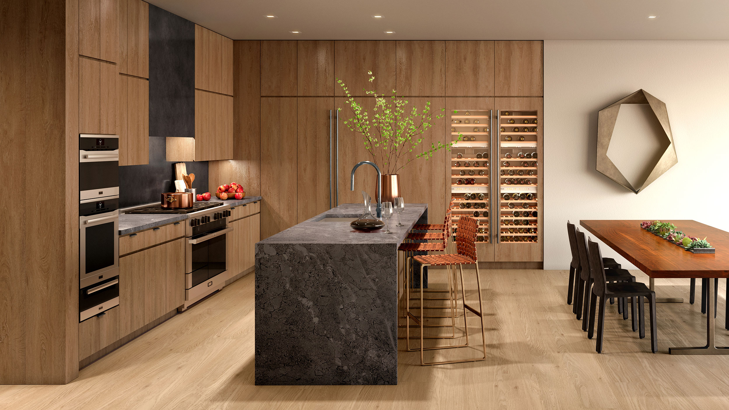 Kitchens feature marble countertops, a Miele appliance package, and wine refrigerators.