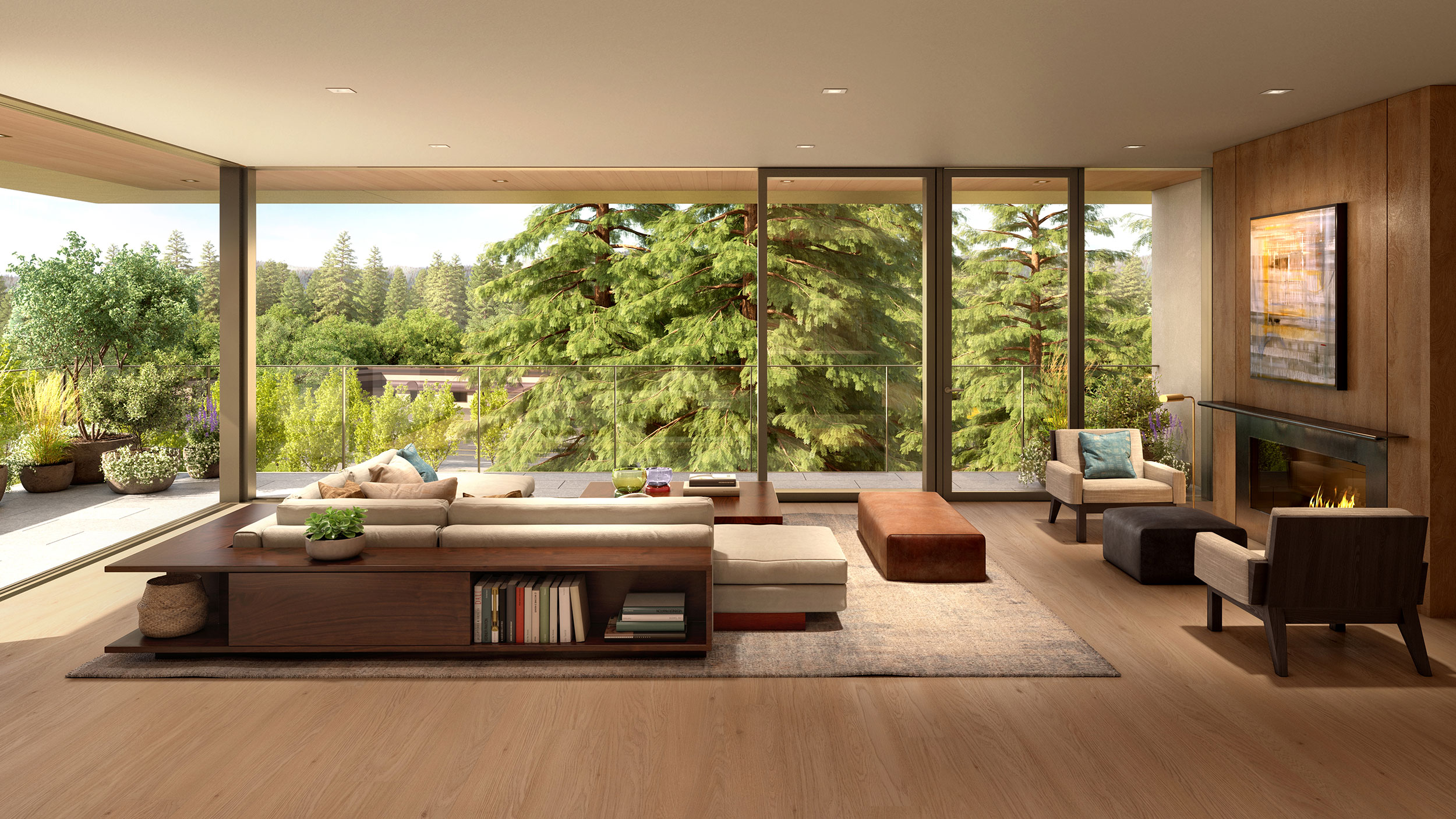 Sliding glass walls provide panoramic views of the redwoods and surrounding landscape.