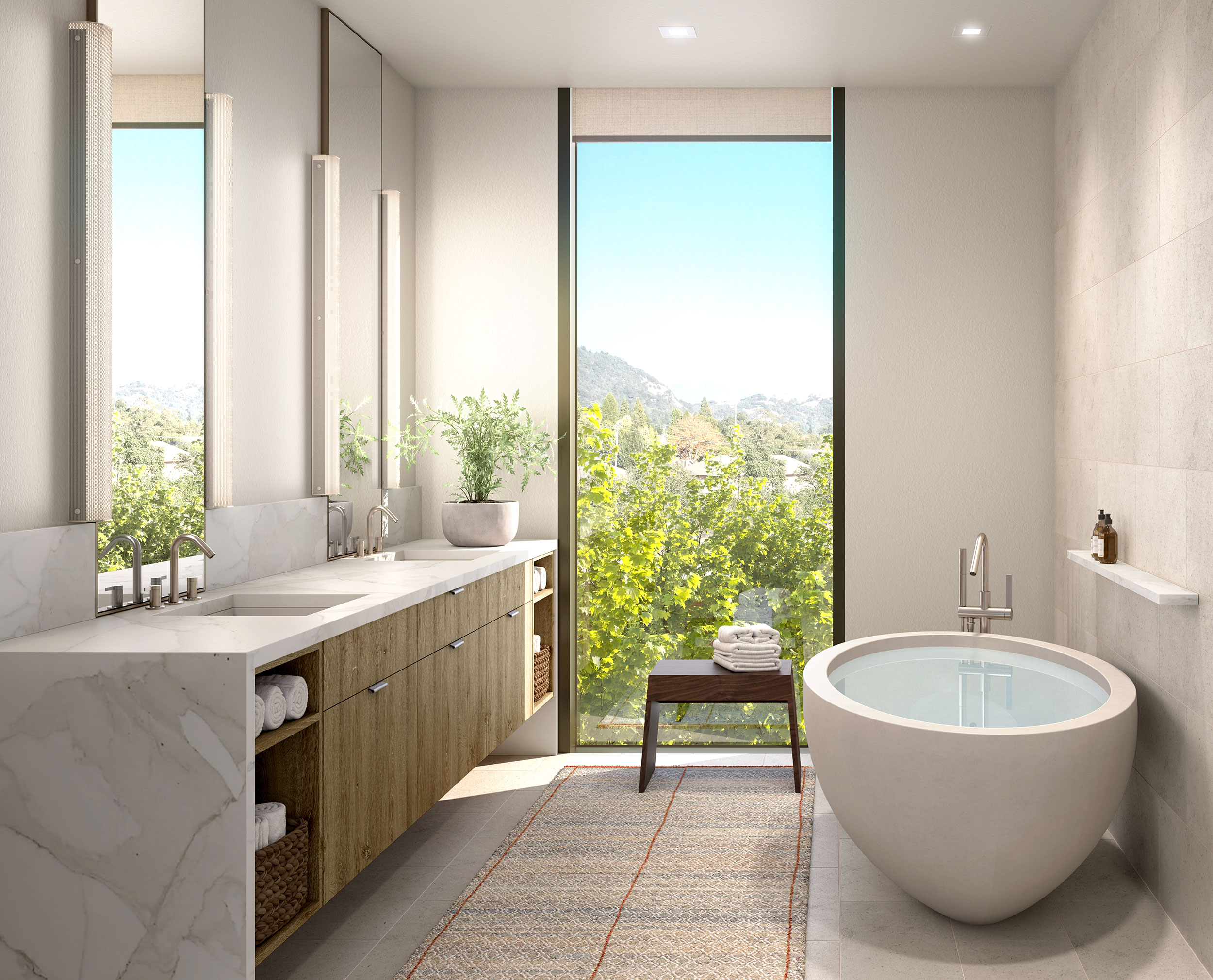 Master bathrooms feature slab walls and marble countertops, a walk-in rain shower, and deep soaking tubs.